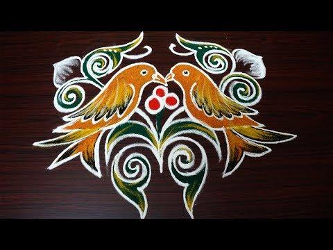 simple birds rangoli designs with 6 dots || beautiful kolam designs || creative muggulu