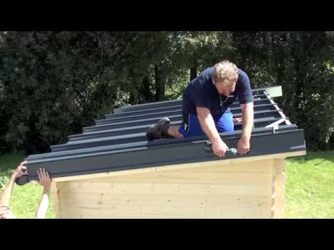 montage eines rib roof metalldachs auf gartenhaus youtube. Black Bedroom Furniture Sets. Home Design Ideas