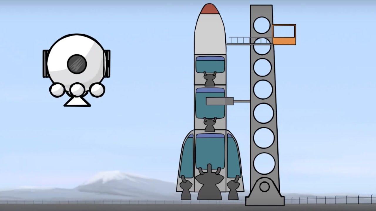 Cohete De Astronauta Y Vintage De Dibujos Animados: Grandes Vehículos Para Niños Pequeños. Dibujos Animados
