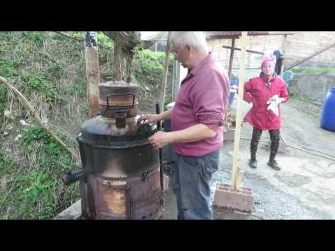Making homemade Palinka:  Borsa,  Maramures, Romania Part 1 of 4