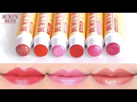 Burt's Bees Lip Shimmer Swatches on Lips 6 colors
