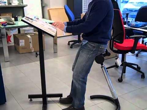 Sillas de oficina taburete para trabajar de pie youtube - Sillas para la espalda ...