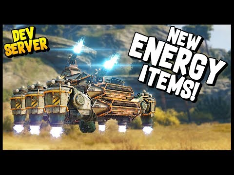 Crossout - ENERGY ITEMS! SNEAK PEEK AT NEW STUFF! Synthesis, Spark, Red Beam, Wildfire [Dev Server]