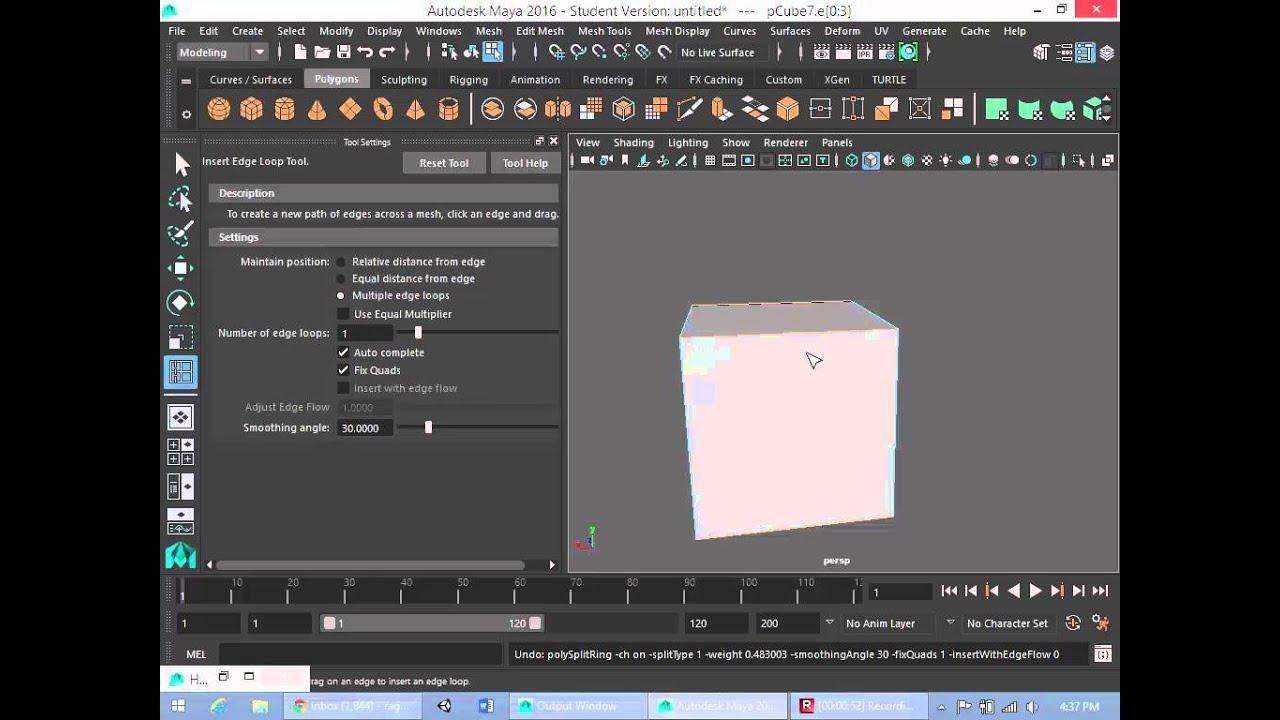 Maya Tutorial How to use the Insert Edge Loop Tool