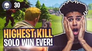 I Can't Believe I Survived this to WIN! HIGHEST SOLO KILL VICTORY! Fortnite Battle Royale