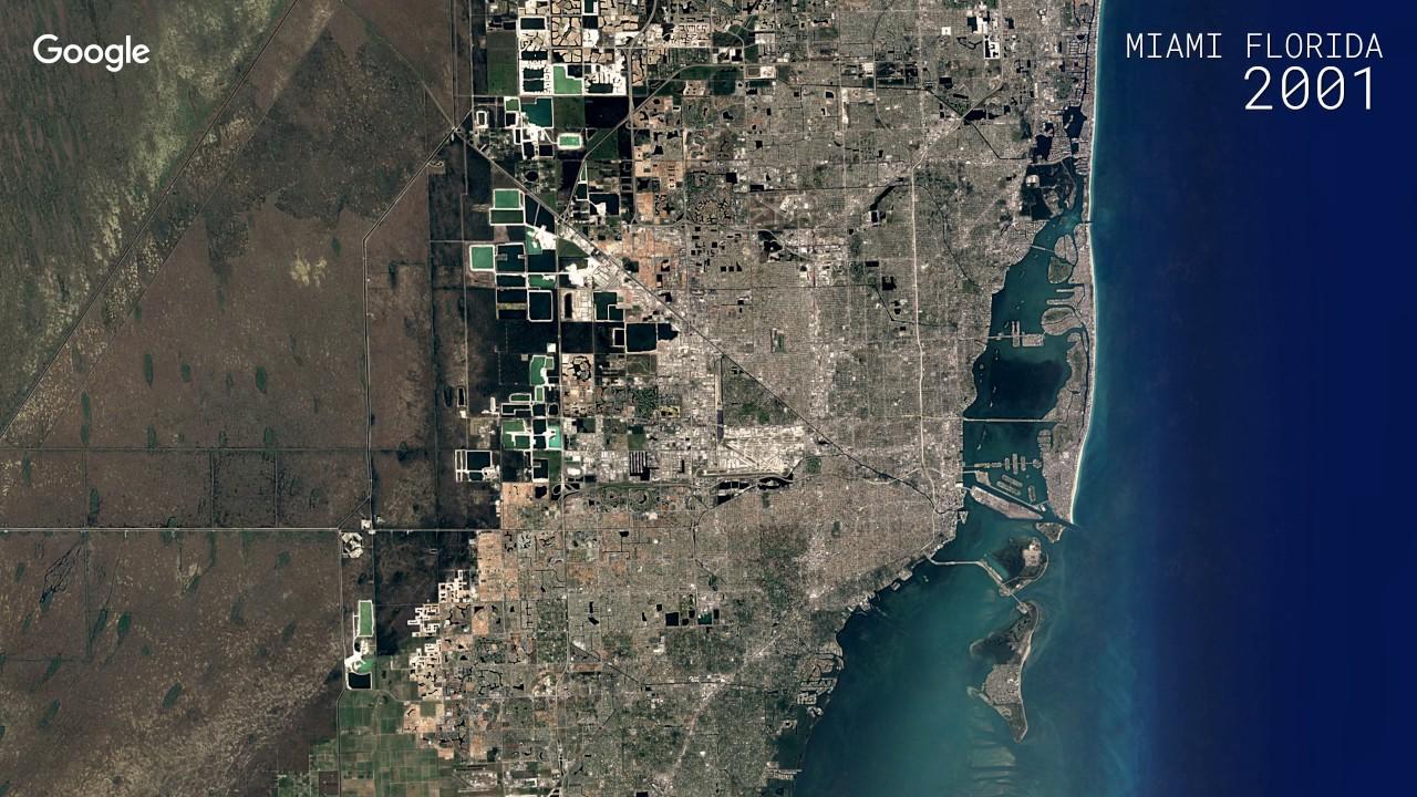 Satellite Map Of Florida.Google Timelapse Miami Florida Youtube