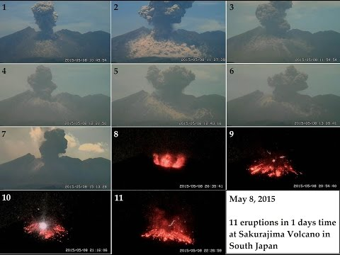 5/08/2015 --  11 Large volcanic eruptions in 1 day! Sakurajima Volcano in Japan
