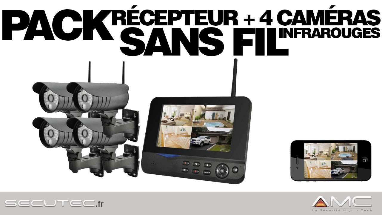 pack videosurveillance alarme 4 cam ras sans fil. Black Bedroom Furniture Sets. Home Design Ideas