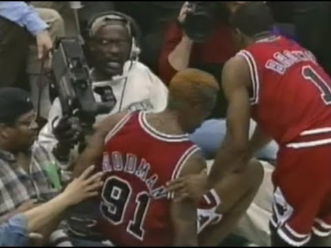 Dennis Rodman kicks cameraman - extended foot-age / coverage (1997)
