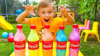 Kids making color soda bottle with sand | Trailer