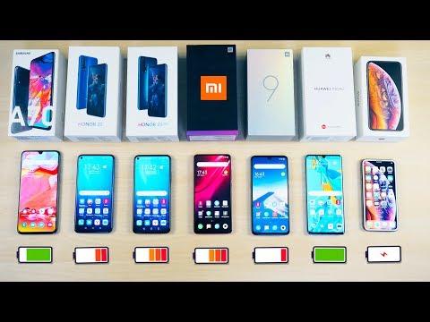 КТО ДОЛЬШЕ? Xiaomi Mi 9T Pro, Mi 9, Honor 20, 20 Pro, IPhone XS, Samsung Galaxy A70, Huawei P30 Pro