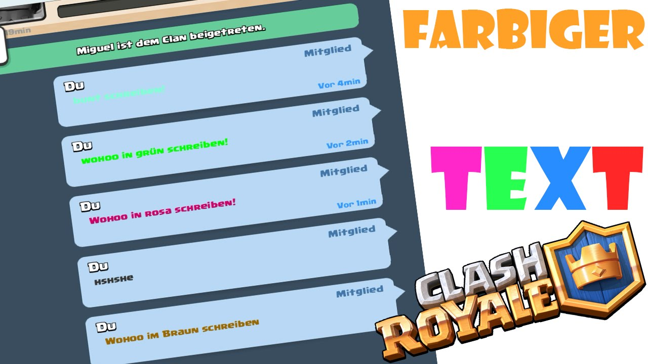 FARBIGER TEXT IN CLASH ROYALE TUTORIAL DEUTSCH! - YouTube