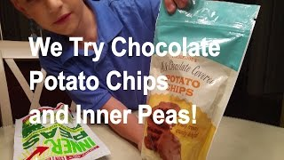 We Try Dried Green Inner Peas and Chocolate Covered Potato Chips! Yum?
