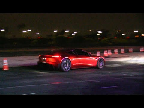 Tesla next gen Roadster red exterior shots + launching