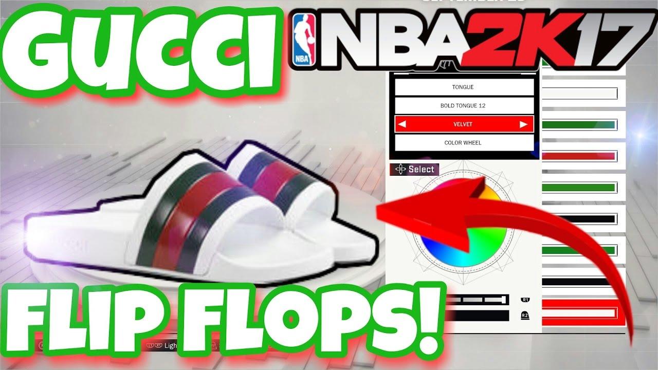fa036f228e2a Gucci Flips Flops Shoe Creator Tutorial! Nba 2k17 Shoe Creator ...