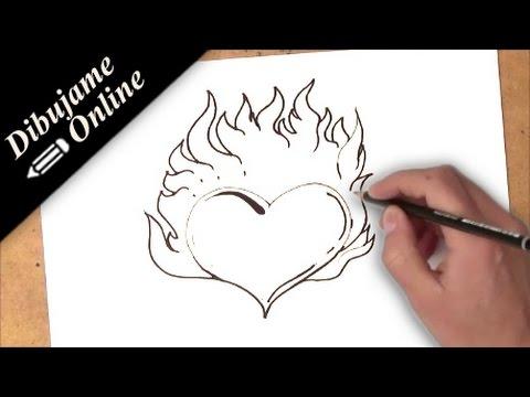 como dibujar un corazon con fuego | como dibujar un corazon en ...
