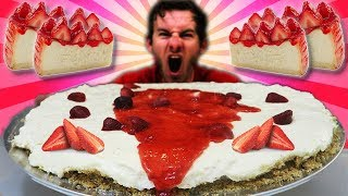 WORLDS LARGEST STRAWBERRY CHEESECAKE CHALLENGE! (15,000+ CALORIES)
