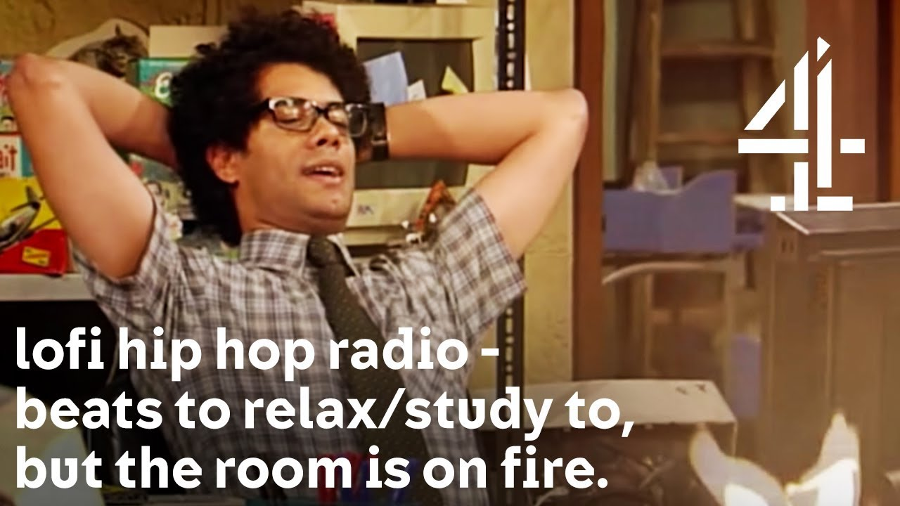 lofi hip hop radio - beats to relax/study to, but with Moss from The IT Crowd & the room is on fire. - YouTube