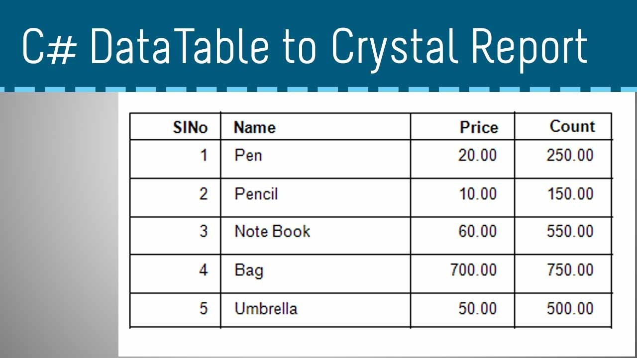 C Datatable To Crystal Report Part 2 Youtube