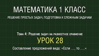 Математика 1 класс. Урок 28. Составление предложений вида: «Если …, то ….» (2012)