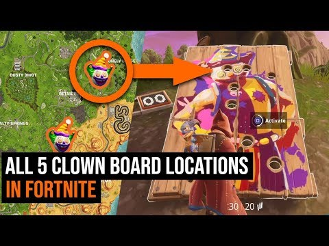 ALL 5 Clown Board Locations In Fortnite - Season 6 Challenges