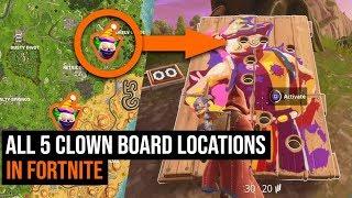 ALL 5 Clown Board Locations in Fortnite - Season 6 Challenges