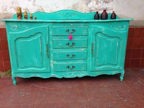 MUEBLE VINTAGE (CÓMO PINTAR DETALLES RÚSTICOS) Color menta, turquesa ...