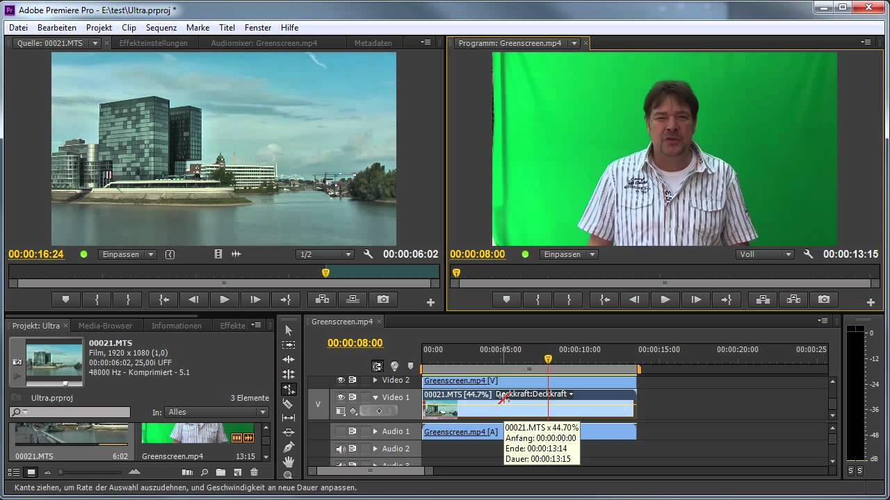 how to add greenscreen video onto video on premiere