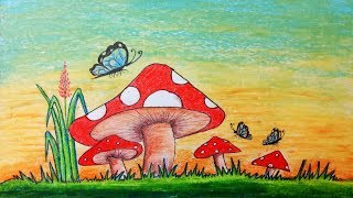 How to draw scenery of mushroom.Step by step(easy draw)