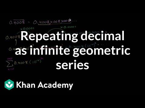Repeating decimal as infinite geometric series | Precalculus | Khan Academy