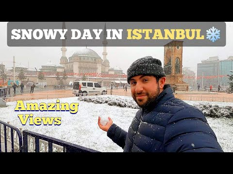 SNOWY DAY In Istanbul Galata Tower Tour & Taksim Square 2021