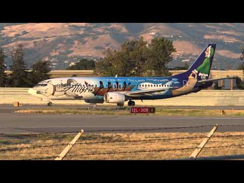 Alaska Airlines 'Spirit of Alaska Statehood' Takeoff From San Jose Int'l Airport