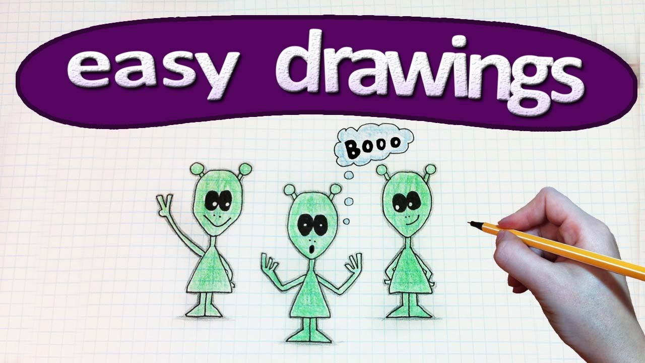 Easy Drawings 245 How To Draw A Cartoon Alien Ufo Drawings For
