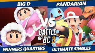 Smash Ultimate Tournament - Big D (Ice Climbers) Vs. Pandarian (Pokemon Trainer) BoBC3 SSBU WQ