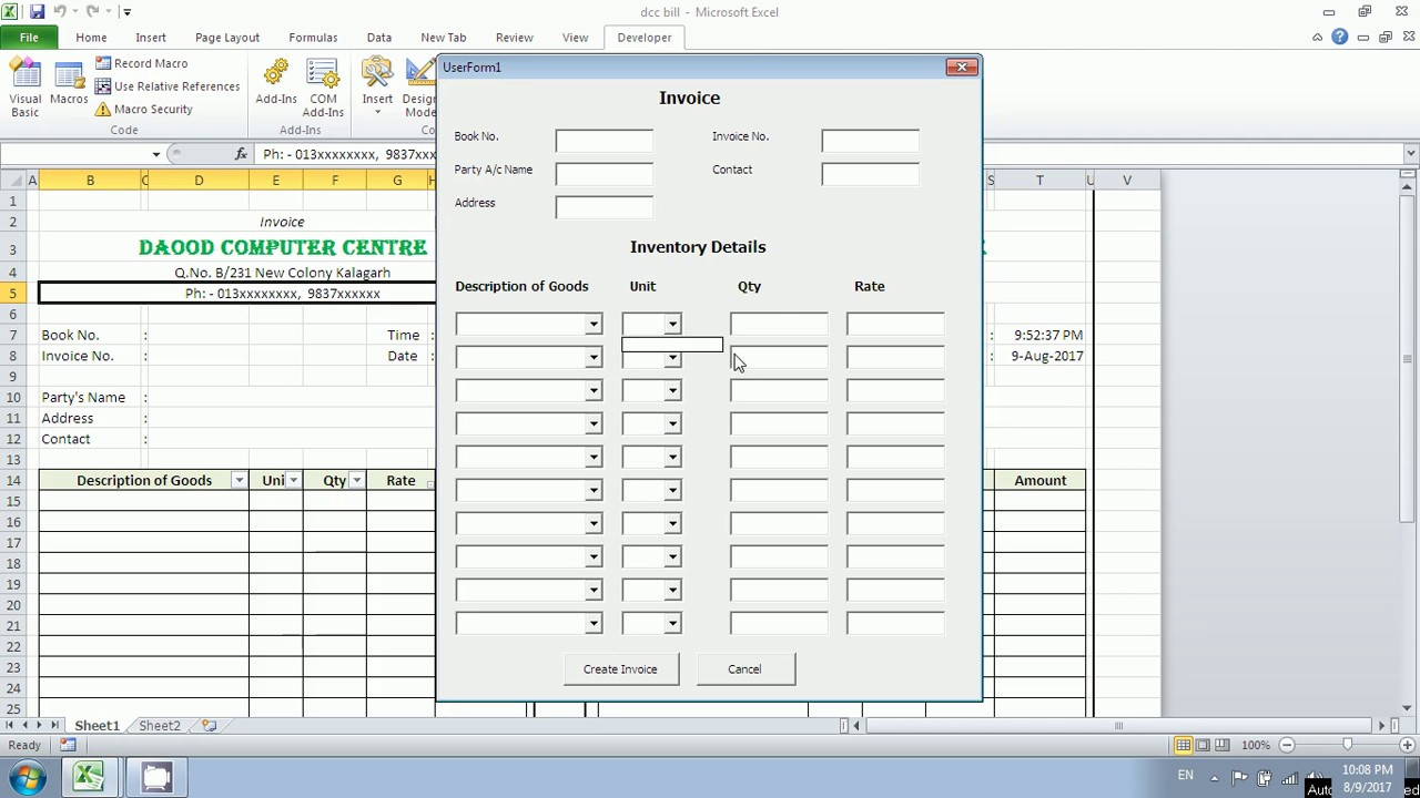 how to create invoice userform vba in excel in hindi youtube