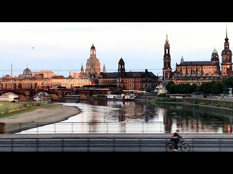 DEUTSCHE BAHN Dresden's iconic city center across Elbe river's Mariesbruck bridge