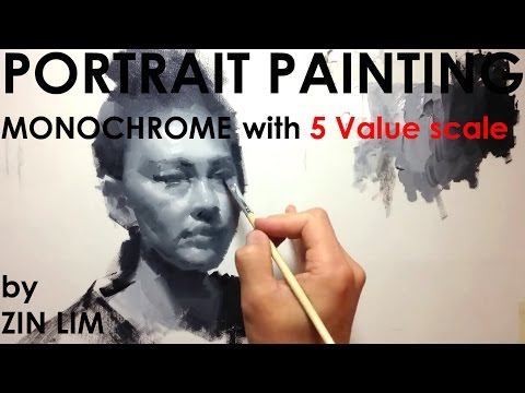 Monochromatic Portrait Painting by 5 Value Scale.