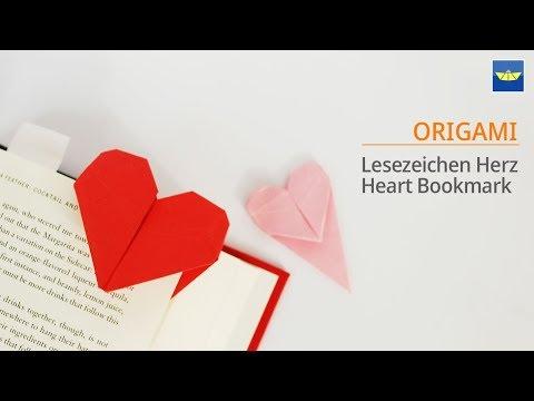 Origami Herz Lesezeichen - Basteln mit Papier, Bastelideen, DIY Geschenke selber machen : Heart 하트접기