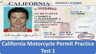 California Motorcycle Permit Practice Test 1