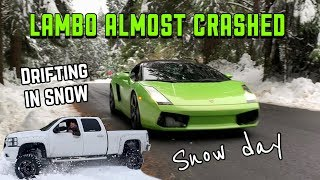 ALMOST CRASHED MY LAMBO IN THE SNOW (Camping, Off Road, Snow, Drifting, Fun!!!)