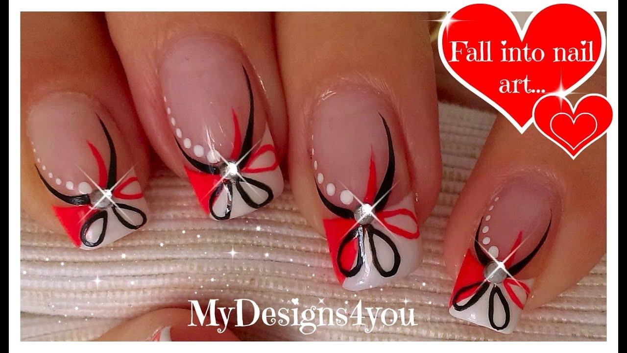 Red and Black Floral Nails | Abstract Nail Art ♥ Diseño Uñas ...