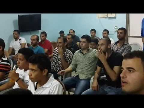 شباب رمانة فلسطين يشجعون فريق الجزائرالمباراة بين الجزائر وروسيا في مقهى أبو نزار بعدسة خالد بشناق