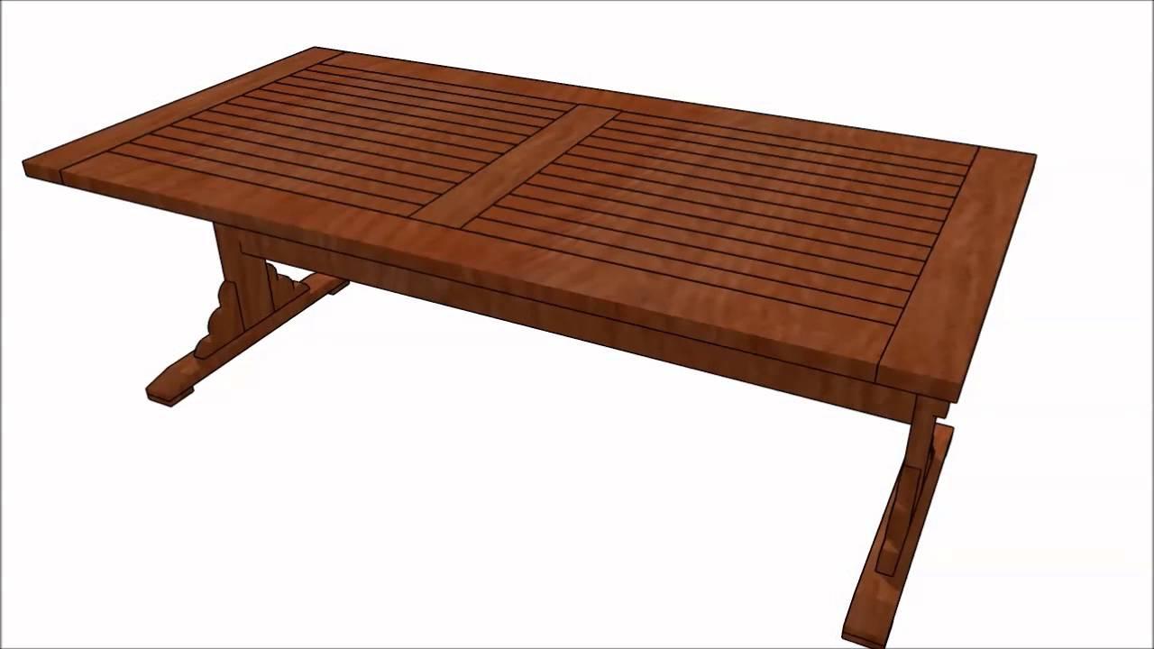 Comtrestle Table Design : Trestle table plans - YouTube