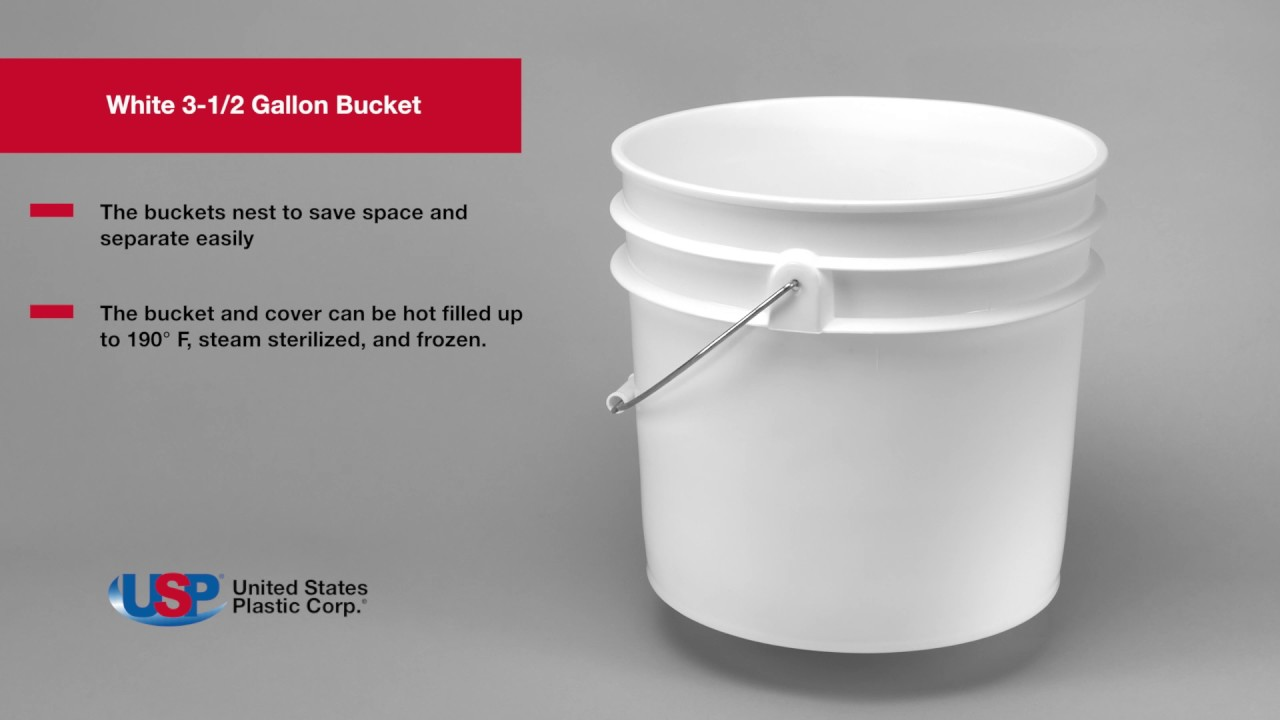 White 3 12 Gallon Bucket US PLASTIC CORPORATION YouTube