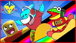 Roblox Slide Down GIANT FOOD et Get Eaten Let's Play VTubers Big Gil VS Gus