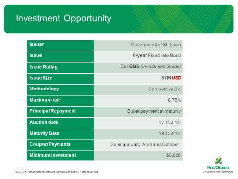 Government of Saint Lucia Investment Opportunity