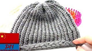 Repeat youtube video 简单 轻松 在家 用 编织板针 针织 冬季 圆帽 (初学者)