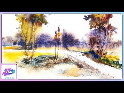 Watercolor perspective landscape painting | How to paint a watercolor landscape | Art Explain