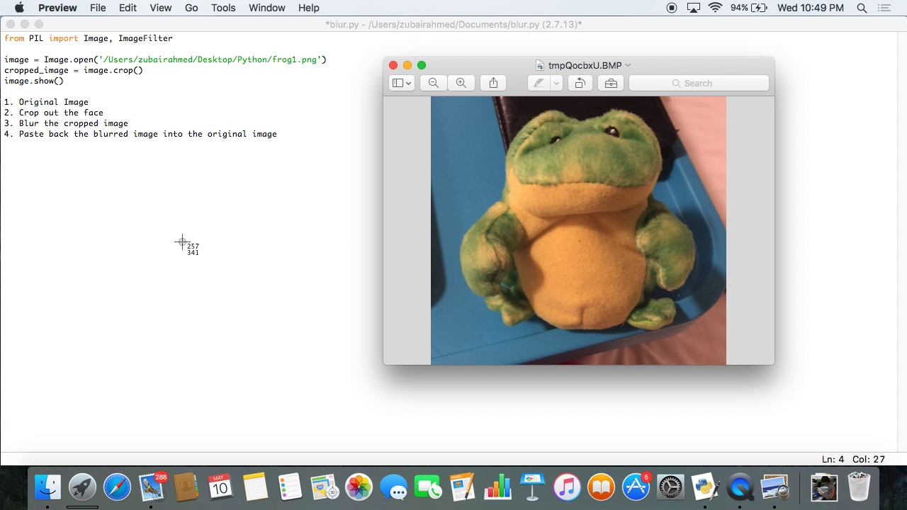 How to blur a part of an image using python