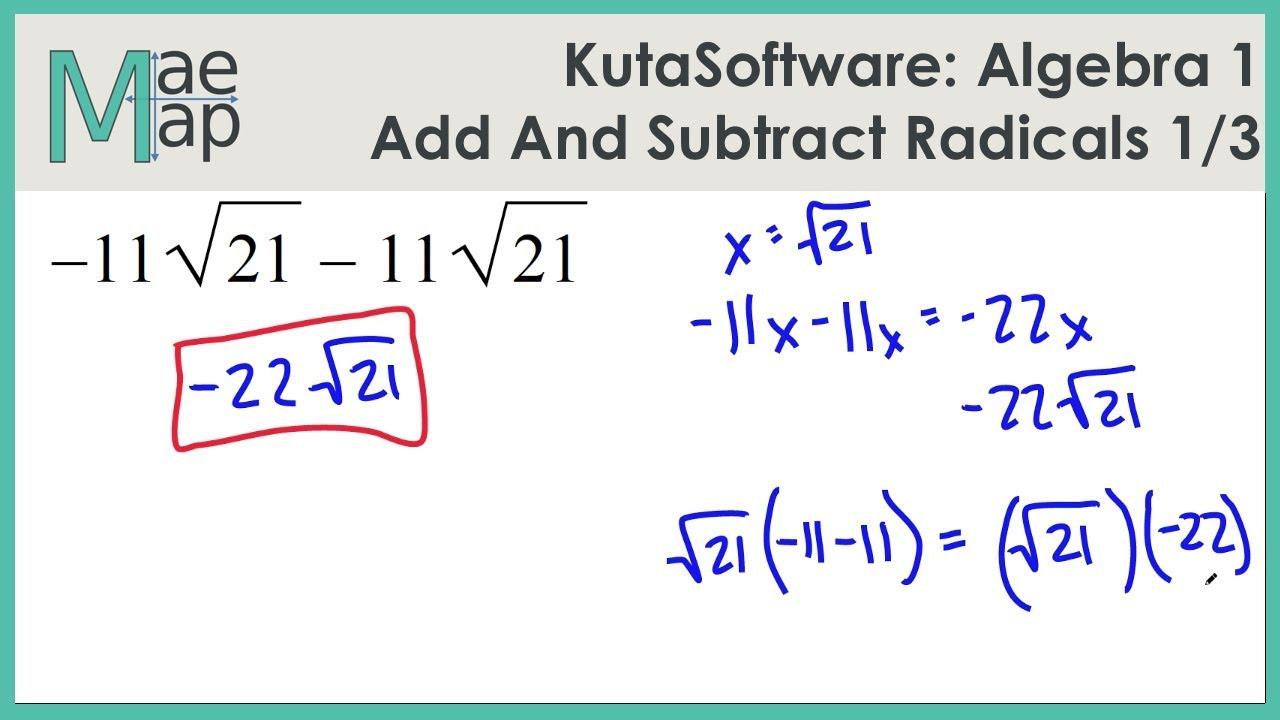 kutasoftware algebra 1 adding and subtracting radicals part 1 youtube. Black Bedroom Furniture Sets. Home Design Ideas